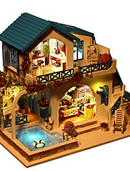 cheap -Model Building Kit DIY House Natural Wood Classic Pieces Unisex Gift