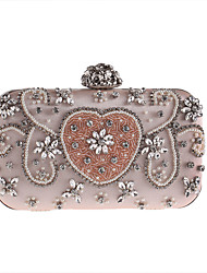 cheap -Women's Bags Polyester Evening Bag Rhinestone Appliques Floral Flower for Wedding Event/Party Casual Formal Office & Career All Seasons