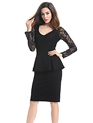 Women Vintage Ladylike Sexy Lace top Long Sleeve V-Neck Peplum Tunic Bodycon Women Wear to Work Office Pencil Dress