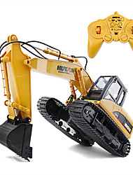HuiNa 1550 RC Toys 15 Channel 2.4G 1/14 RC Metal Excavator Charging 1:12 RC Car With Battery RC Alloy Excavator RTR