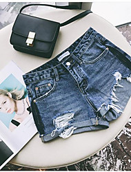 Women's High Waist Micro-elastic Shorts Pants,Sexy Cute Straight Ripped Solid Jeans