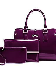 Mulher Bolsas Todas as Estações Couro Ecológico Conjuntos de saco 3 Pcs Purse Set para Casual Azul Preto Vermelho Roxo