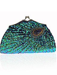 Women Bags All Seasons PVC Polyester Evening Bag Rhinestone Sequined for Wedding Event/Party Formal Blue Gold Black Silver Amethyst