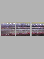cheap -IARTS® Hand Painted Modern Abstract Oil Painting Grey Purple Silver Lining Set of 3 with Stretched Frame Picture For Home Decoration Ready To Hang