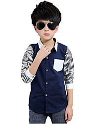 cheap -Boys' Embroidered Stripes Shirt,Cotton Fall All Seasons Long Sleeve Floral White Black Navy Blue