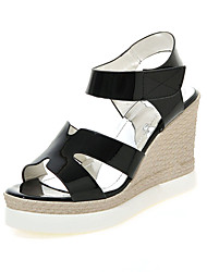 Damen Sandalen Pumps PU Sommer Normal Kleid Pumps Kombination Keilabsatz Gold Weiß Schwarz Silber 7,5 - 9,5 cm