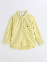 baratos -Para Meninos Camisa Sólido Primavera Outono Algodão Manga Longa Amarelo