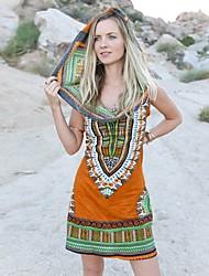 Feminino Solto Vestido,Para Noite Casual Vintage Moda de Rua Estampa Colorida Arco-Íris Decote Canoa Acima do Joelho Sem Manga Algodão