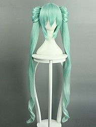 cheap -vocaloid hatsune miku 40cm 120cm two parts length long wigs heat resistant japanese style anime cosplay wig hair cap hairnet halloween hit style Halloween