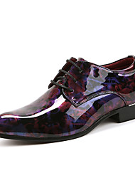 Men's Shoes Patent Leather Spring Fall Comfort Oxfords Booties/Ankle Boots Flower For Wedding Casual Party & Evening Red Green