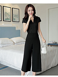 Women's Going out Casual/Daily Work Contemporary Simple Casual Spring Summer Shirt Pant Suits,Solid Textured Sexy V Neck Sleeveless
