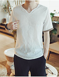 Men's Going out Casual/Daily Simple Summer T-shirt,Solid Floral V Neck Short Sleeves Linen