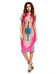 Largo Vestito Da donna-Per uscire Vintage Moda città Modello Collage Rotonda Sopra il ginocchio Manica corta Cotone ElastenePrimavera