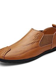 preiswerte -Herrn Schuhe Kunstleder Leder Frühling Sommer Komfort Loafers & Slip-Ons für Normal Schwarz Gelb Braun