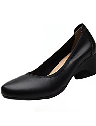 cheap -Women's Heels Formal Shoes Spring Fall Real Leather Casual Office & Career Chunky Heel Black 1in-1 3/4in