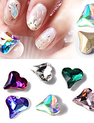 cheap -10PCS Nail  Art Drill Stick Act the Role Ofing Iridescence Tilt The Peach Heart Shape Diamond 6 Color Optional
