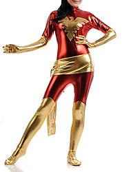 cheap -Zentai Suits Super Heroes Zentai Cosplay Costumes Red Patchwork Zentai Lycra Female Kid Halloween