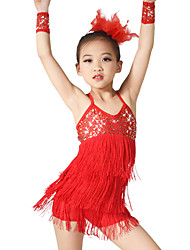 cheap -Latin Dance Outfits Women's Children's Performance Elastic Elastane Sequined Lycra Tassel(s) Paillette Sleeveless Natural Dresses