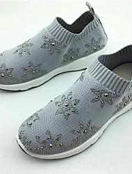 cheap -Women's Sneakers Comfort Spring Fall Fabric Walking Shoes Casual Outdoor Rhinestone Flat Heel Black Gray 1in-1 3/4in