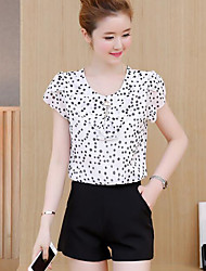 cheap -Women's Daily Casual Summer Blouse Pant Suits,Polka Dot Floral Round Neck Short Sleeve Others Chiffon Inelastic