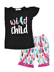 Kids Girls' Print Sets Cotton Summer Short Sleeve Clothing Set Wild Child Letter Feather 2pcs Outfits