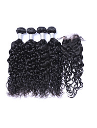 cheap -Brazilian Hair Natural Wave Natural Color Hair Weaves 4 Bundles With Closure Human Hair Weaves Natural Black Human Hair Extensions