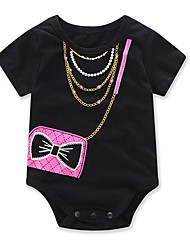 cheap -Baby Girls' Fashion Geometic One-Pieces, Cotton Summer Cartoon Dresswear Short Sleeves Black