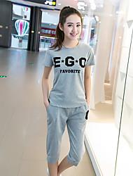 T-shirt Pantalone Completi abbigliamento Da donna Per uscire Vintage Estate,Tinta unita Rotonda Manica corta