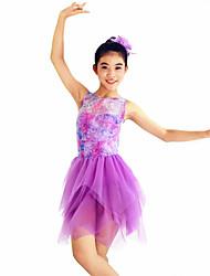 MiDee Ballet Dresses Women's / Children's Performance Spandex / Flower(s) / Pleated 2 Pieces Lilac Ballet
