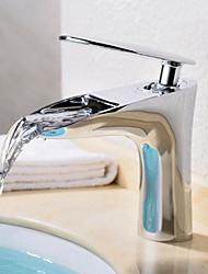 abordables -Moderne/Contemporain Set de centre Jet pluie Soupape céramique Mitigeur un trou Chrome, Robinet lavabo