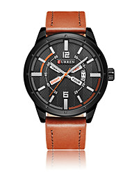cheap -Men's Sport Watch Skeleton Watch Military Watch Quartz 50 m Water Resistant / Water Proof Calendar / date / day Creative Genuine Leather Band Analog Charm Casual Fashion Multi-Colored - Black / Brown