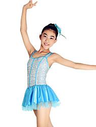 economico -Costumi da ragazza pon pon Completi Per bambini Da esibizione Elastene Paillettes A balze 3 pezzi Senza maniche NaturaleAbito Accessori