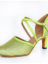 "Feminino Moderna Glitter Seda Salto Interior Fivela Verde 2 ""- 2 3/4"" Personalizável"