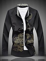 cheap -Men's Casual Cotton Shirt Print