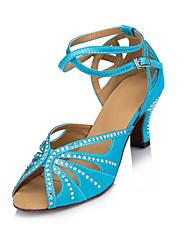 Da donna Balli latino-americani Raso Tacchi Per interni Con diamantini Quadrato Blu 5 - 6,8 cm Personalizzabile