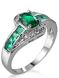Ring Women's Euramerican Luxury 2 Colors Square Rhinestone Zircon Ring Daily Party Gift Movie Jewelry