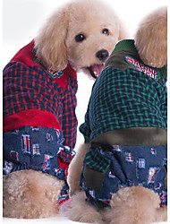 Dog Clothes/Jumpsuit Dog Clothes Casual/Daily Plaid/Check Red Green