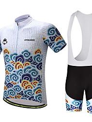 economico -Maglia con salopette corta da ciclismo Per uomo Bicicletta Set di vestiti Ventilazione Asciugatura rapida Tasca posteriore