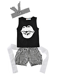 Baby Kids' Casual/Daily Birthday Stripes Print Clothing Set Summer Letter / Lips Vest Shorts with Headband 4pcs Girls Boys Outfits