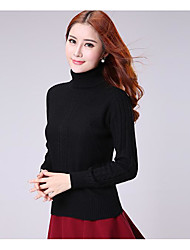 Women's Casual/Daily Simple Regular Pullover,Solid Crew Neck Long Sleeves Cashmere Winter Medium Micro-elastic