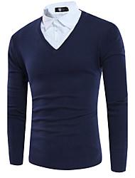 Standard Pullover Da uomo-Casual Semplice Tinta unita Colletto Manica lunga Poliestere Autunno Medio spessore Media elasticità
