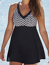 cheap -Womens Vintage Strappy V Neck Two Piece Swimsuit Tankini Swim Dress