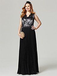 Sheath / Column V-neck Floor Length Chiffon Lace Formal Evening Dress with Appliques Sash / Ribbon Pleats by TS Couture®