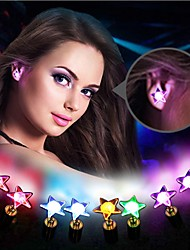 1PCS Colorful LED Five-pointed Star Light Earrings Fashion Dance Party Accessories Light Up LED Bling Ear Studs Earring