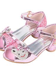 cheap -Girls' Flats Comfort Flower Girl Shoes Summer Fall Synthetic Microfiber PU Casual Dress Buckle Flat Heel Sliver Blushing Pink Flat