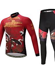 Maglia con pantaloni da ciclismo Unisex Manica lunga Bicicletta Set di vestiti Tenere al caldo Molto spesso Tessuto sintetico LYCRA®