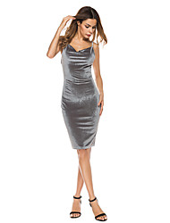 Women's Party Club Sexy Sophisticated Bodycon Sheath Dress,Solid V Neck Mini Sleeveless Polyester Summer High Rise Micro-elastic Thin
