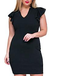 Moulante Robe Femme Soirée Travail Grandes Tailles Vintage,Couleur Pleine Col en V Mi-long Manches Courtes Coton Polyester EtéTaille