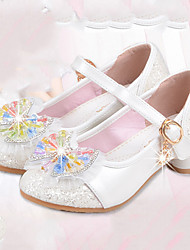 Girls' Flats Comfort Flower Girl Shoes Summer Fall Synthetic Microfiber PU Casual Dress Buckle Flat Heel White Blushing Pink Flat