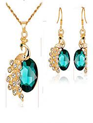Damen Braut-Schmuck-Sets Synthetischer Smaragd Synthetischer Diamant Modisch vergoldet Aleación Tierform Für Veranstaltung / Fest